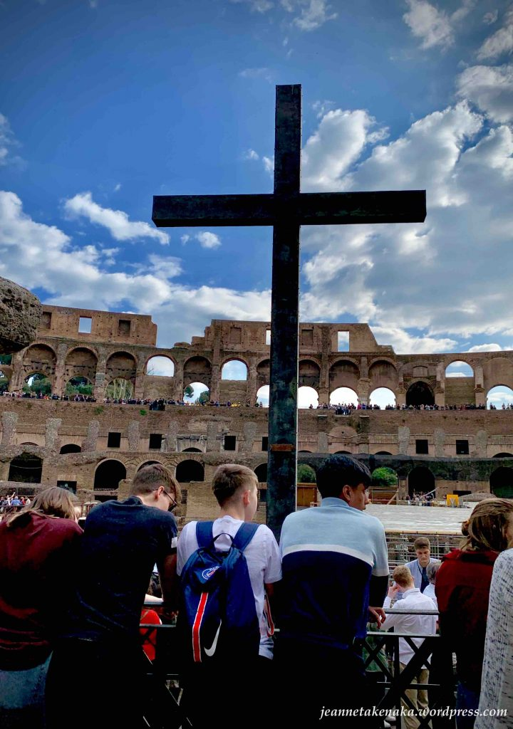 The silhouette of the cross at the Colosseum, a reminder of what Jesus did for us.