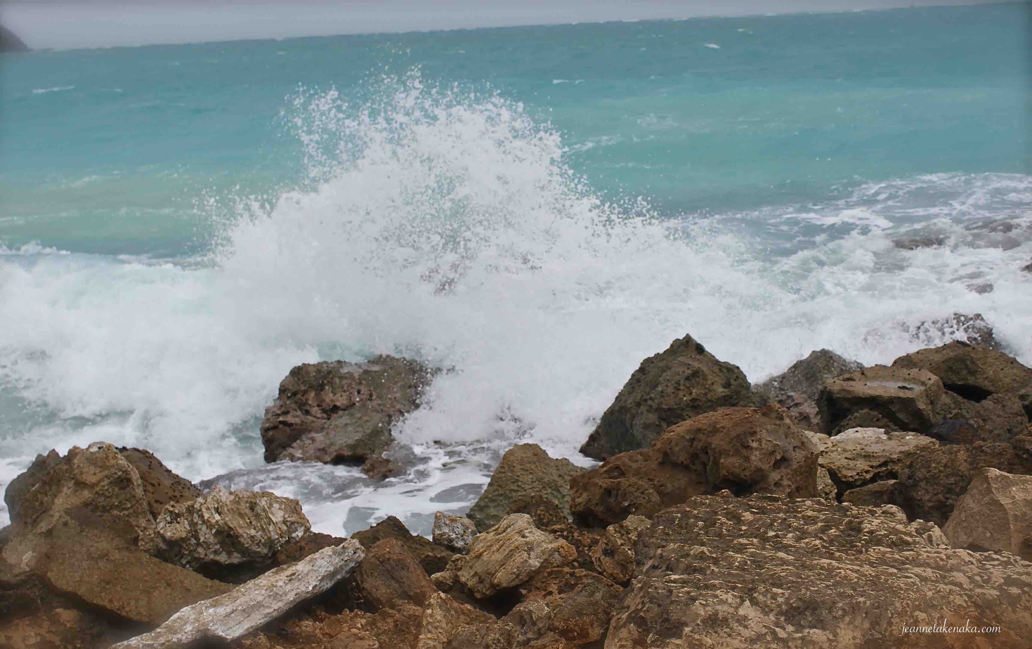 A wave crashing into rocks reminds us how we feel internally when our hearts cling to things it shouldn't