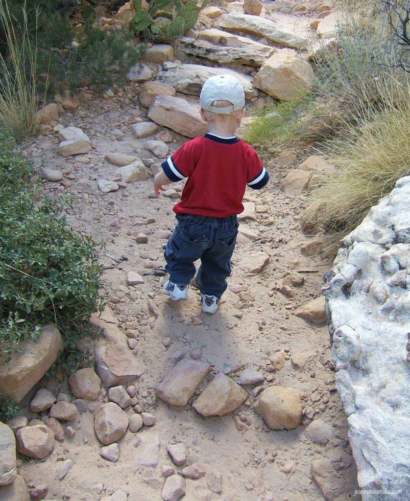 A toddler walks along a dirt path in the desert