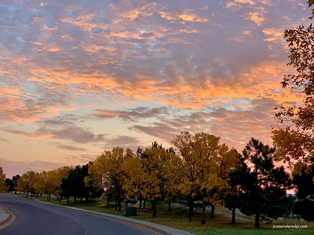 A sunrise displaying God's colors and beauty on a fall morning