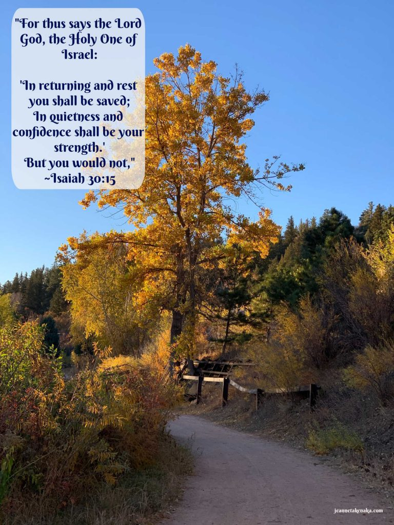 """A meme that says, """"For thus says the Lord God, the Holy One of Israel: 'In returning and rest you shall be saved; in quietness and confidence shall be your strength.' But you would not,"""" ~Isaiah 30:15 on a backdrop of a picture of a tall yellow-leafed tree with a blue sky backdrop"""