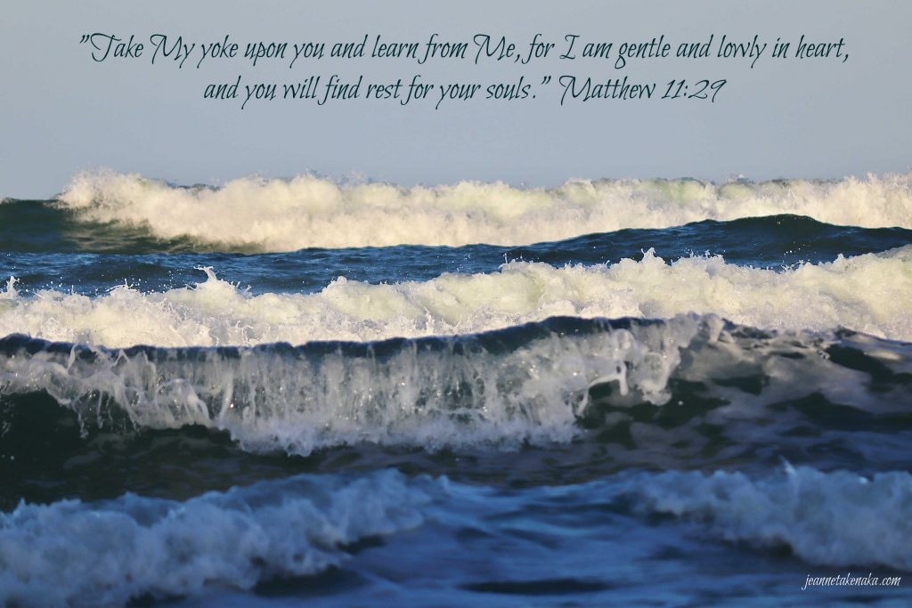 """A meme with the words: """"'Take My yoke upon you and learn from Me, for I am gentle and lowly in heart, and you will find rest for your soul's.' Matthew 11:29 on a backdrop of a multitude of waves with whitecaps."""