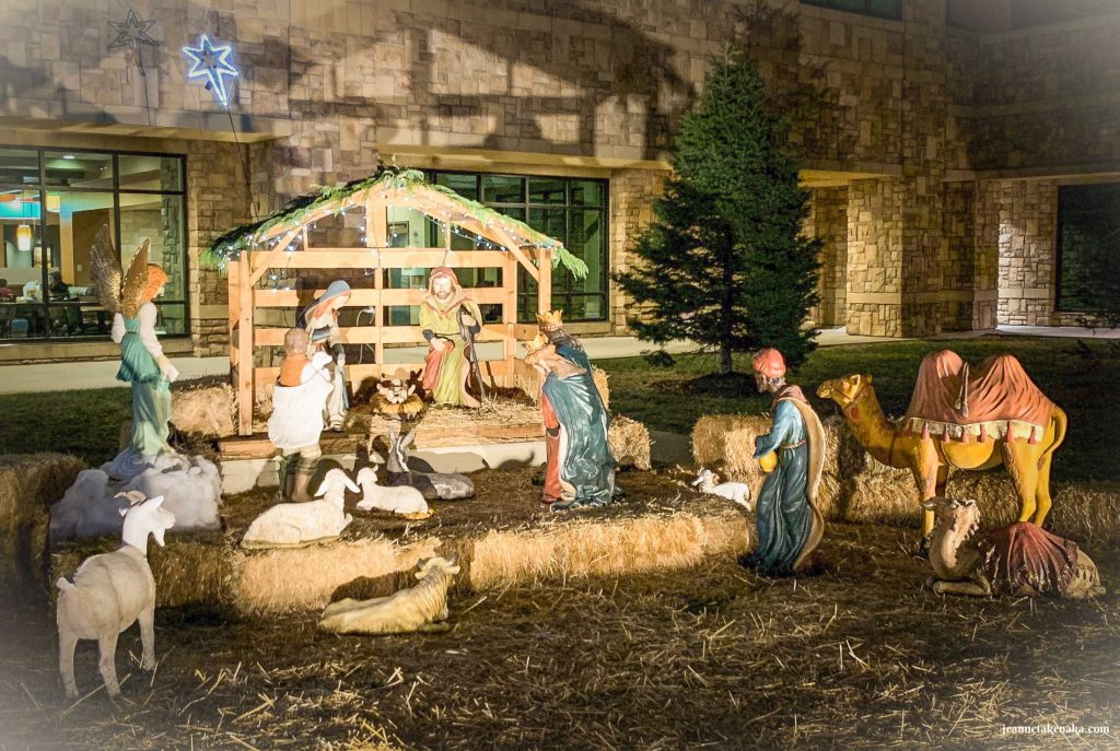 A nativity scene outside a hospital reminding us that God came to be with us in the form of a baby