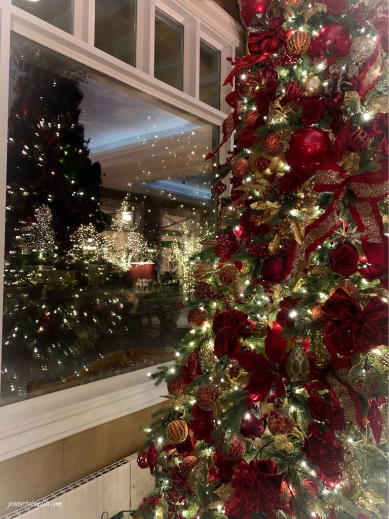 A lit Christmas tree reflecting in the window with a dark night on the other side...reflecting on our need for embracing rest