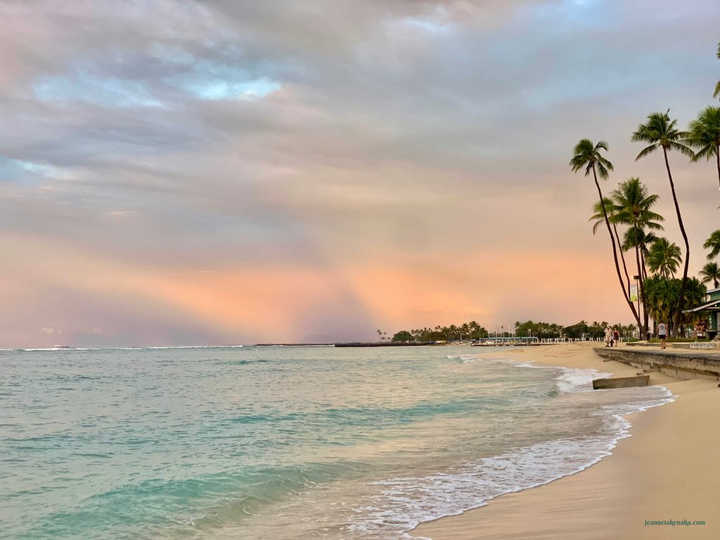 A pastel beach sunrise