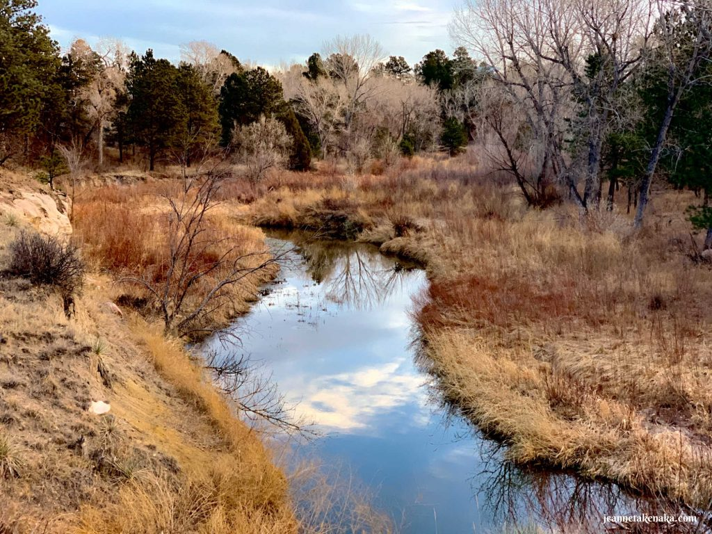 A calm creek reflecting the morning sky and bordered by brown grasses and bushes . . . sometimes a fear of failure keeps us shivering inside