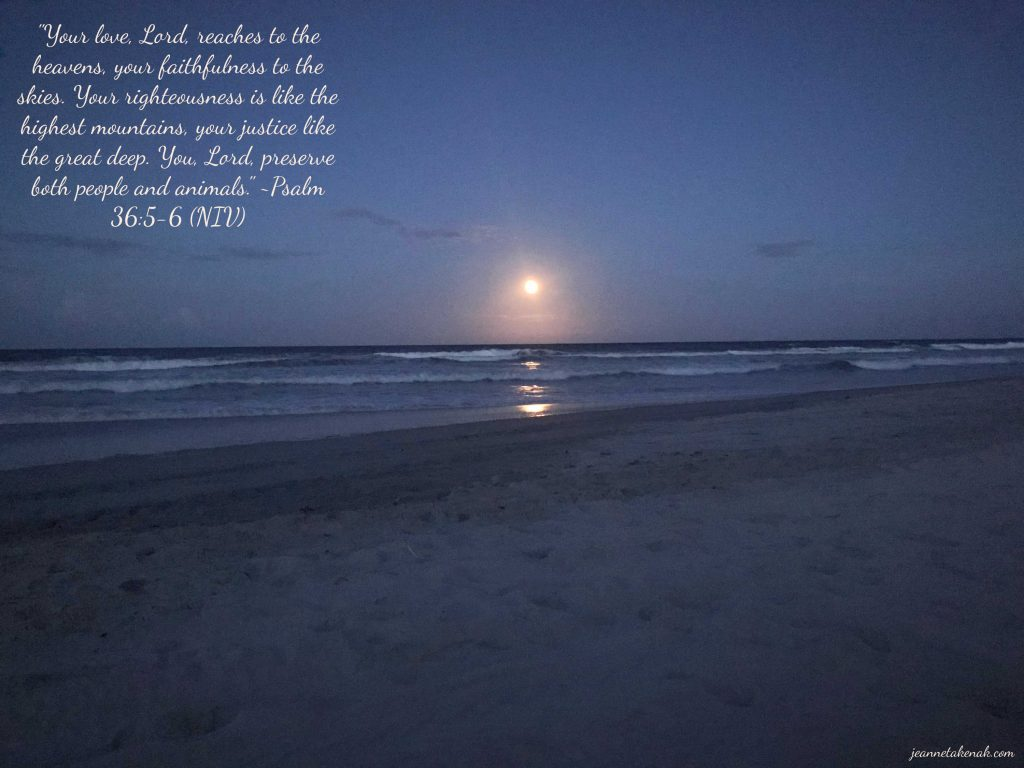 """Meme with the words: """"Your love, Lord, reaches to the heavens, your faithfulness to the skies. Your righteousness is like the highest mountains, your justice like the great deep. You, Lord, preserve both people and animals. Psalm 36:5-6"""" on a backdrop of a moon shining above an ocean"""