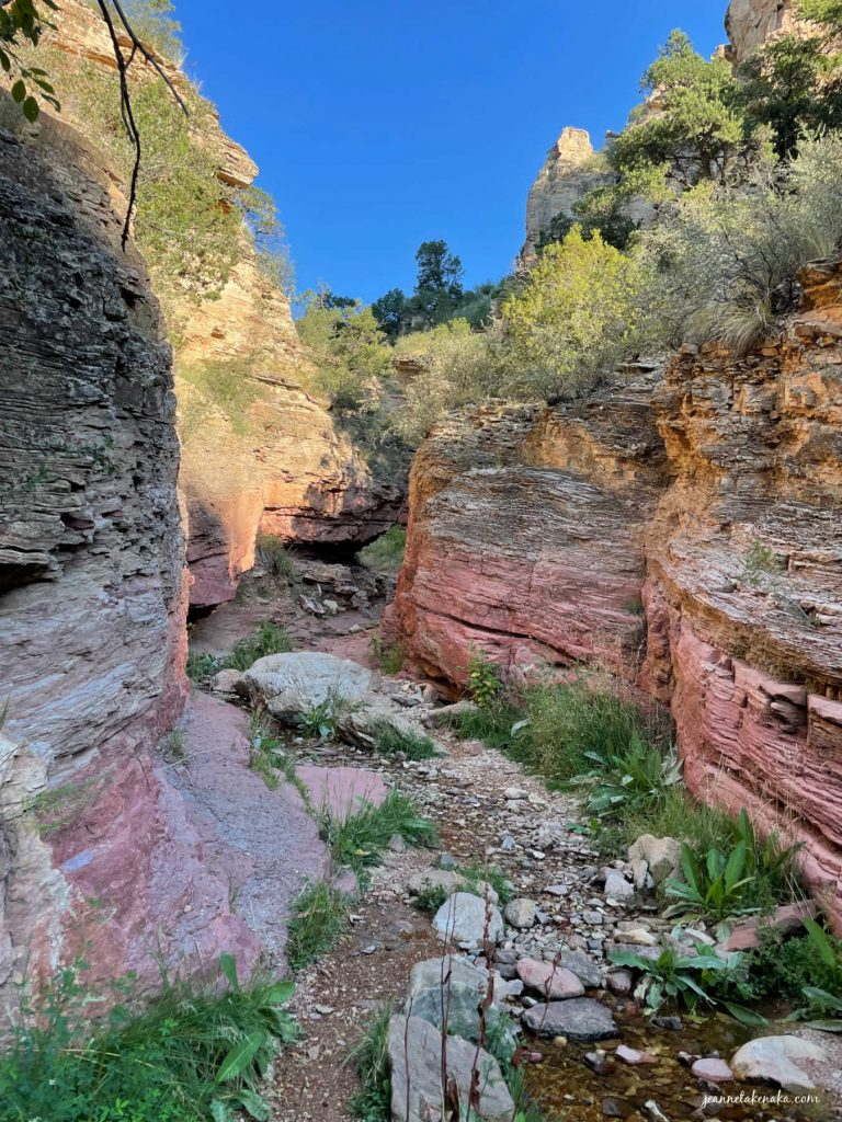 A valley path with solid rock walls on each side. sometimes we wonder, does God care? when we walk through life's valleys