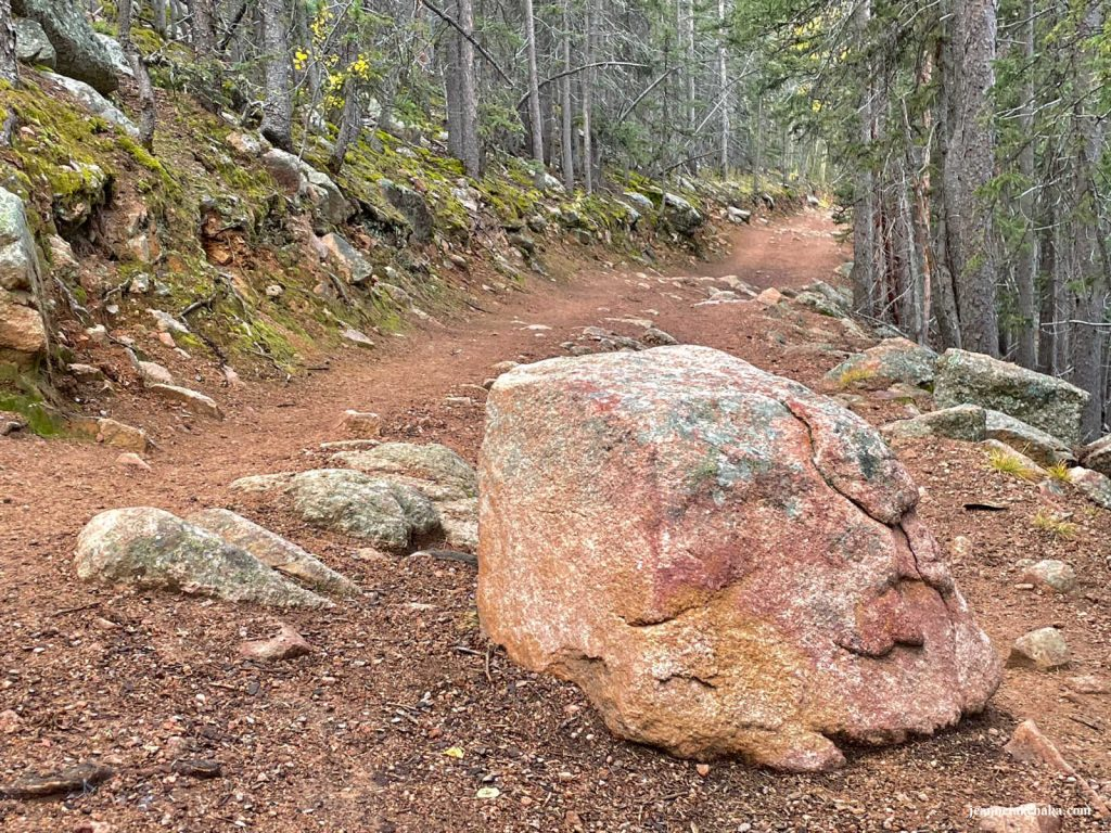 A large boulder in the middle of a dirt path in the woods...symbolic of how things come up in life that make faith in hard times difficult to live out